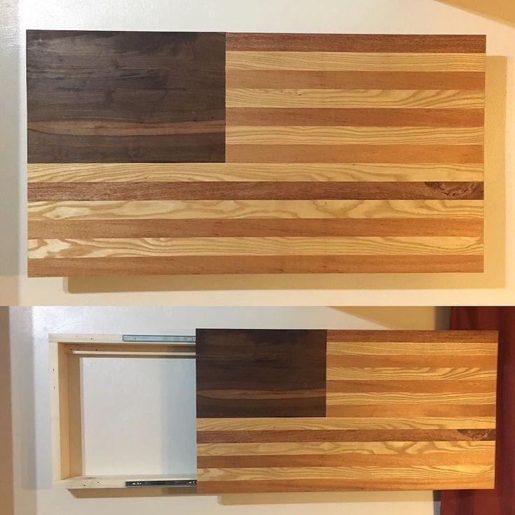 The finished product! American Flag Hidden Gun Cabinet! Made from Walnut African Mahogany and Ash. #wood #woodporn #woodwork #woodworking #woodworker #handyman #diy #merica #america #american #unitedstates #patriot #navy #usn #gun #guns #firearms #toomanyhashtags de cdcustomwood
