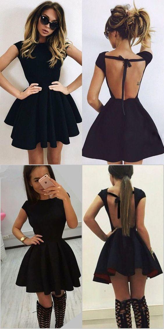 Backless homecoming dress, black homecoming dress, short homecoming dress 0653