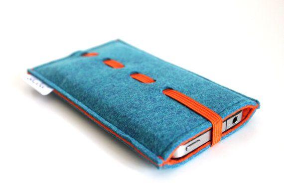 iPhone 5s sleeve/ iPhone 5 sleeve/ iPhone 5C sleeve/ iPhone 4/ 4S sleeve/ Samsung S4/ felt pouch - Teal Blue & Orange- Orange elastic Band on Etsy, £11.43