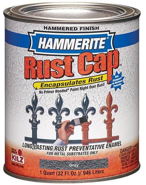 Masterchem 43145 Hammerite Rust Cap Hammered Grey Enamel Paint, 1 Quart