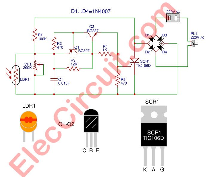 automatic night light circuit using scr lighting circuitsautomatic night light circuit using scr
