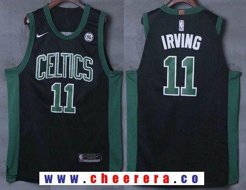 280077ca766 Men s Boston Celtics  11 Kyrie Irving Black 2017-2018 Nike Swingman General  Electric Stitched NBA Jersey