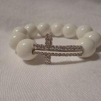 White Cross made with ceramic beads R150.00 #christian #cross #bracelet #beads #isaacsjewellery