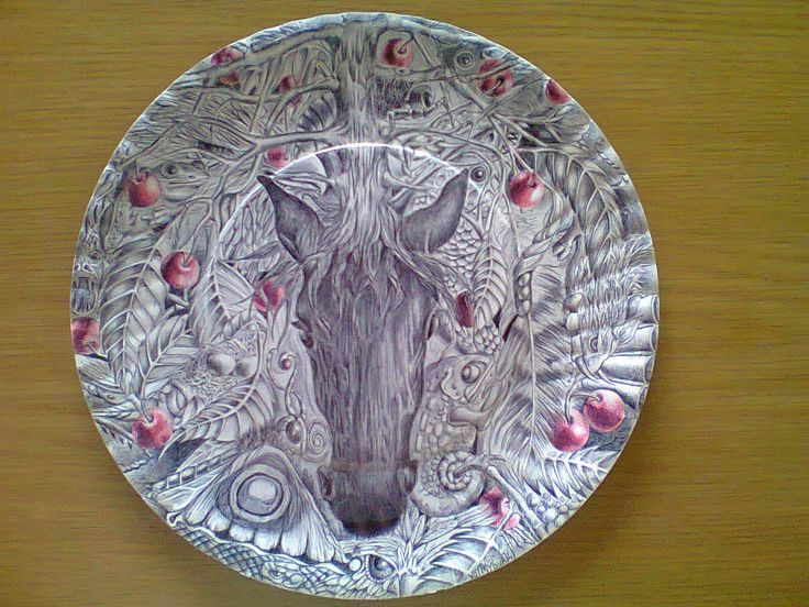 Big Black Horse and a Cherry Tree. Ball point pen on a paper plate.