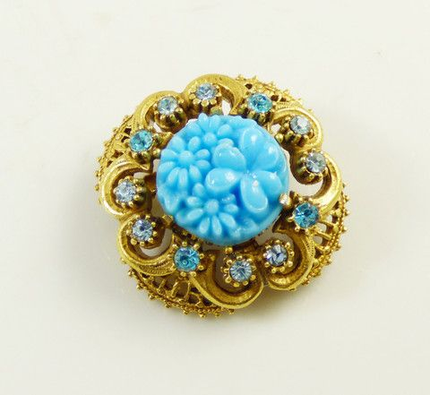 Florenza Blue Molded Floral Glass Rhinestone Brooch