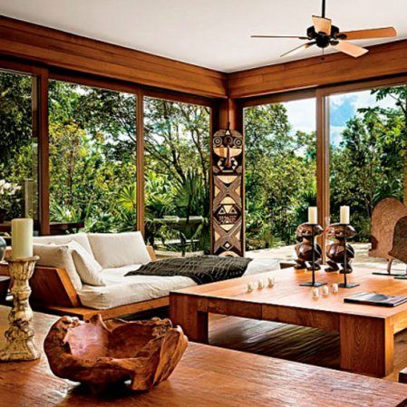 Love the understated look of this African-themed living room.