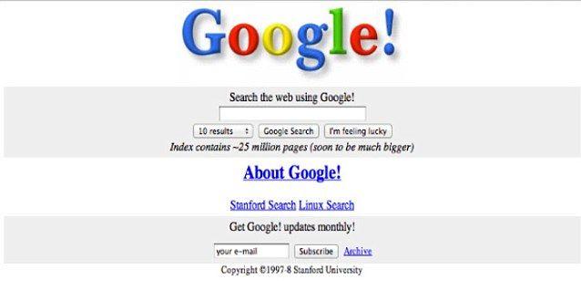 Google (avec un point d'exclamation) en 1998 (les statuts de la société ont été déposés le 4 sept. 1998).