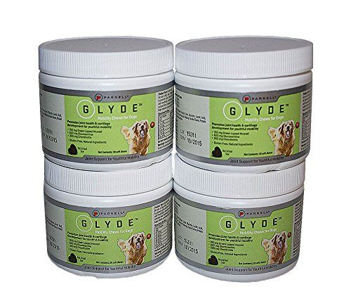 Parnell 840235148616 120 Count Glyde Mobility Chew Treat for Dogs  Promotes mobility  Supports joint health and cartilage development  Features Green lipped mussel powder  Expires 3 years from the Date of Manufacture (DOM)  4 Pack of 30 Count Glide Mobility Chews for Dogs