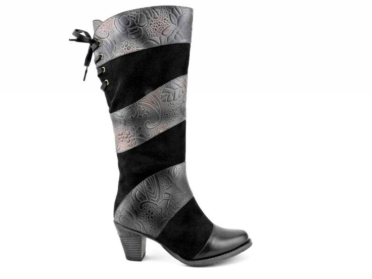 Featuring a custom leather design, stacked fashion heel, and a corset lace up…