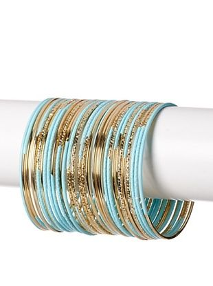 60% OFF Helene Turquoise and Gold Contrast Bangles