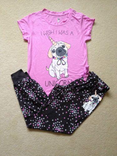 I-wish-I-was-a-Unicorn-Pug-PJ-Sets-Pajamas-Womens-Primark-Tshirt-Pyjamas