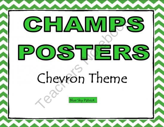 CHAMPS Posters Chevron Theme from BlueSkyPatriot on TeachersNotebook.com -  (20 pages)  - CHAMPS Posters  18 Posters Included. Print only the posters that fit your classroom management program.