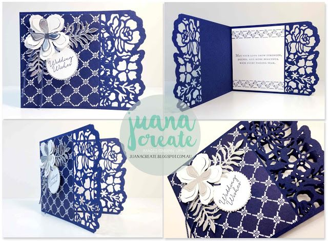 handmade card by Juan Ambida Independent Stampin' Up!® Demonstrator Australia: Floral Boutique Suite - Utmost Elegance ... navy and white ... luv the wide die cut border ...