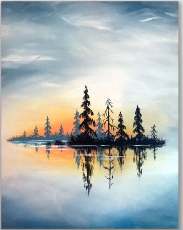 Forest Reflecting On Lake At Sunset Watercolorpainting