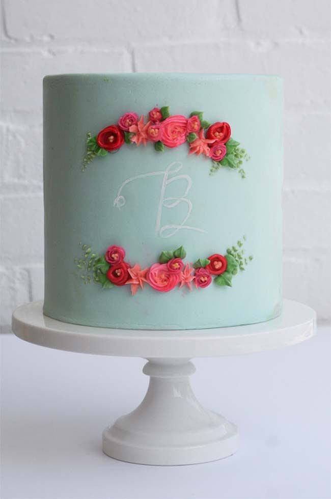 Single Tiered Blue Cake with Red Flowers