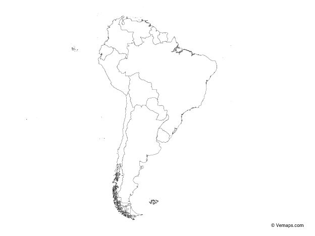 Outline Map Of South America With Countries Free Vector Maps Map Vector Vector Free South America Continent