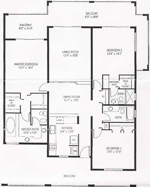 Luxury Condo Floor Plans   FLOOR PLAN OF 3 BEDROOM CONDO
