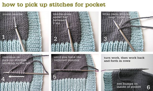 How to pick up stitches for a pocket
