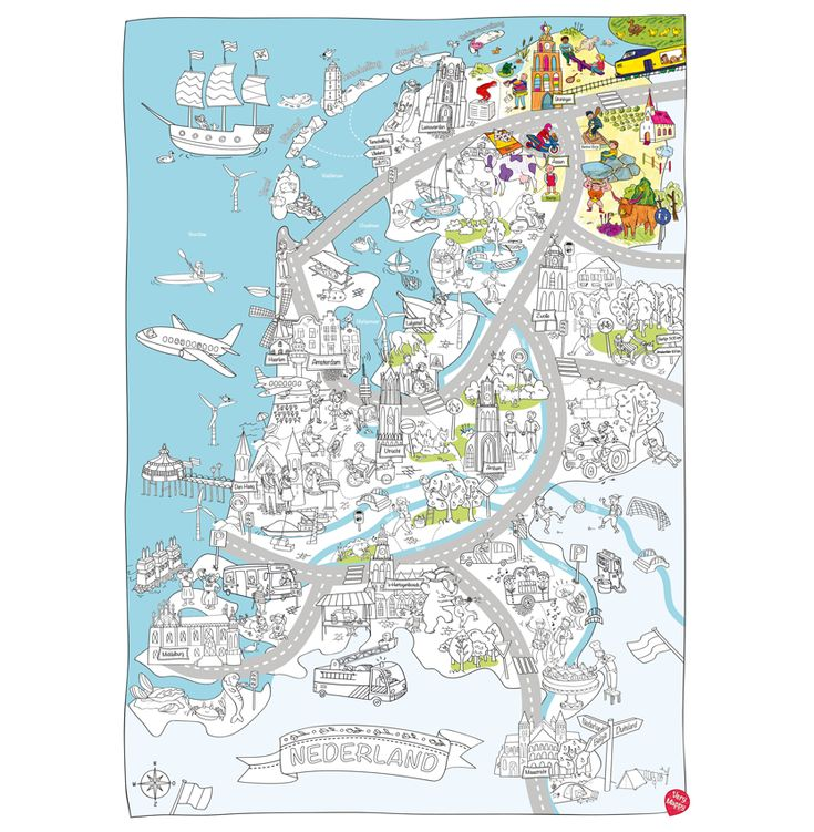 Grote speel- & kleurplaten van Nederland & Amsterdam | Very Mappy