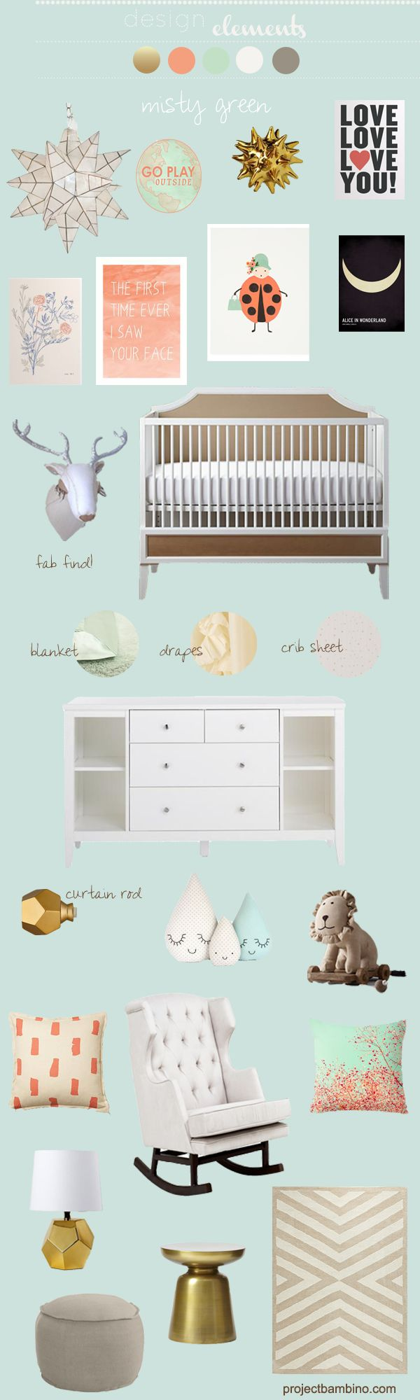 coral and misty green nursery inspiration
