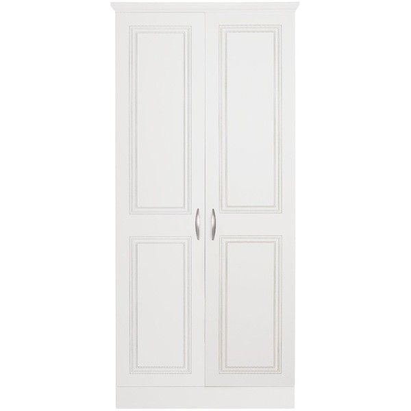 Consort Dorchester Ready Assembled 2-Door Wardrobe ($165) ❤ liked on Polyvore featuring home, furniture, storage & shelves, armoires, doors, storage shelves, storage wardrobe, storage shelf, door shelf and 2 door wardrobe