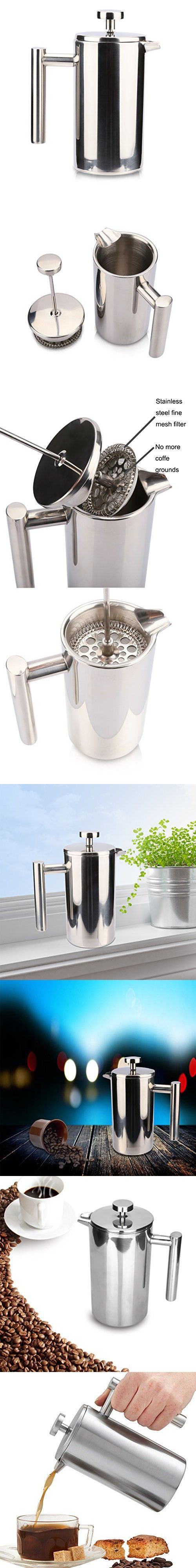 Powilling French Press Coffee Maker - Double Wall Stainless Steel French Coffee Press, 1 Liter
