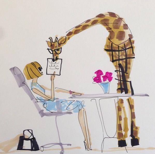 Anna Wintour Mentors a New Intern, a Giraffe Named Mitford, Fashion Illustration, pop art, by  Donald Drawbertson, via Instagram.