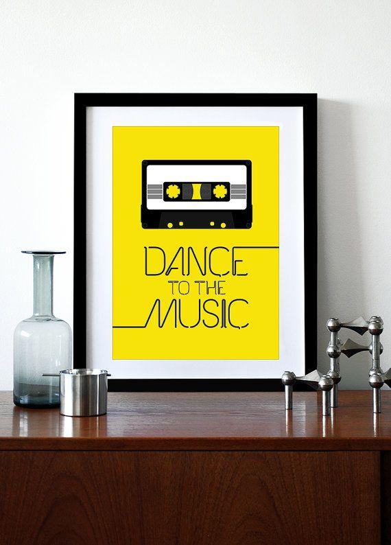 Affiche rétro impression typographie rétro cuisine art Bureau 70 s 80 s bande de cassette de musique - danse à la musique A3 jaune
