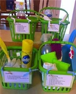 A great help for parents that give household chores to their kids! Purchase a few plastic baskets (these are available at dollar stores for a dollar each!), fill them with the contents needed to clean each room, and then print or write directions for that room onto a card and tape it to the basket. Add or Follow me for more amazing recipes, DIY tips and much more: http://www.facebook.com/w.jmarks
