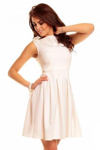 Kremowa sukienka z kokardami KM112-5 na wesele