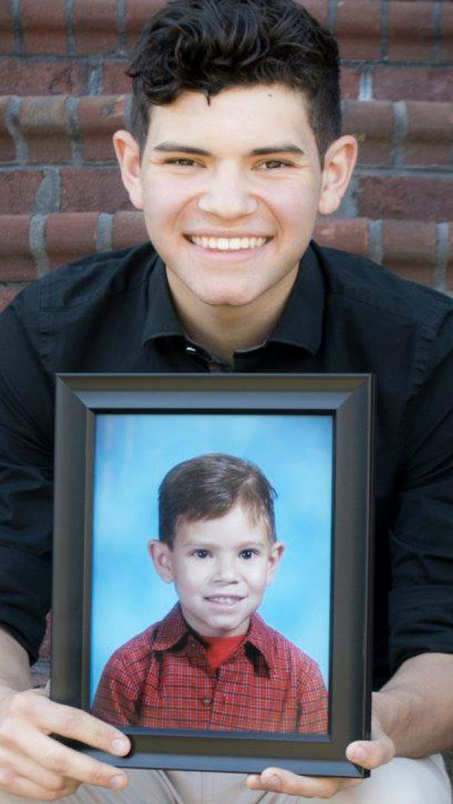 Senior picture with Kindergarten picture