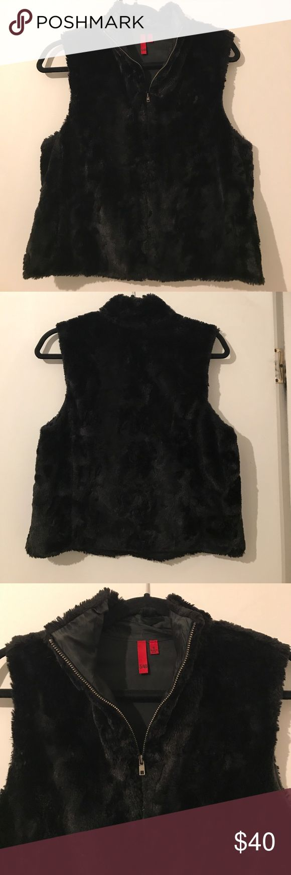 5/48 Saks off 5th Faux Fur Vest Faux Fur black vest lined. Perfect condition worn once. From Saks Off 5th Jackets & Coats Vests