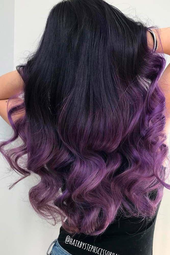 Image Result For Purple Streaks In Dark Hair Hair Color