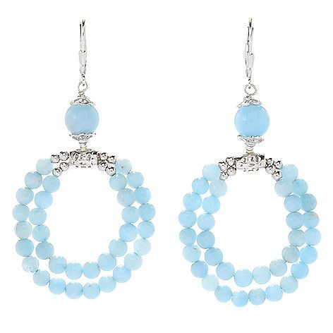 "164-300 - Gem Treasures® Sterling Silver 2.5"" Aquamarine 2-Row Beaded Drop Earrings"