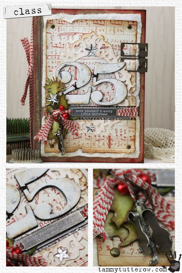 "Book embellished with ""25"" ribbon & sheet music"