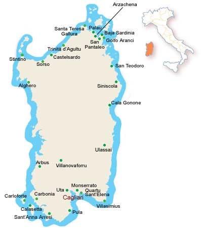 Mapa Cerdeña
