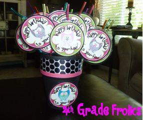 Owl birthday straws -- 4th Grade Frolics: Monday Made It #3