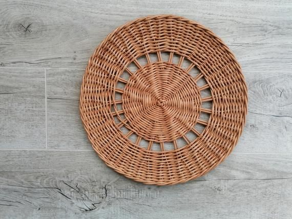 Vintage Wicker Serving Basket or Wall Hanging Brown Neutral Boho Woven Tray