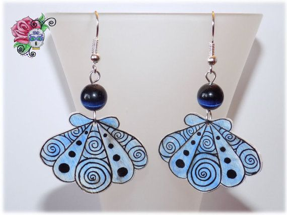 Coquillages Boucles d'oreille Art Abstrait par ValniDesignsJewelry
