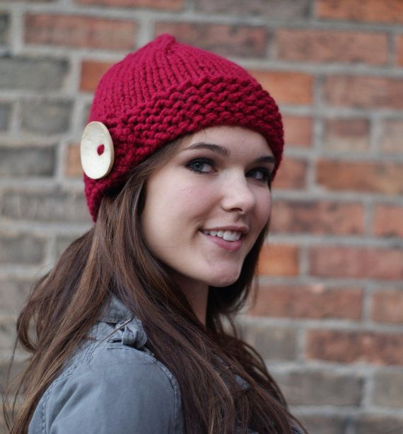 Digital Knitting Patterns : DIGITAL KNITTING PATTERN Big Button Hat Womens by OopsIKnitItAgain Knitting...