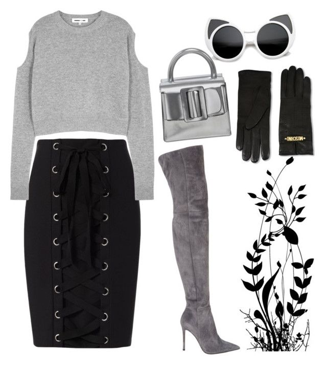 """""""Untitled #83"""" by varga-debora-beatriz on Polyvore featuring Gianvito Rossi, Intermix, McQ by Alexander McQueen, Boyy and Moschino"""
