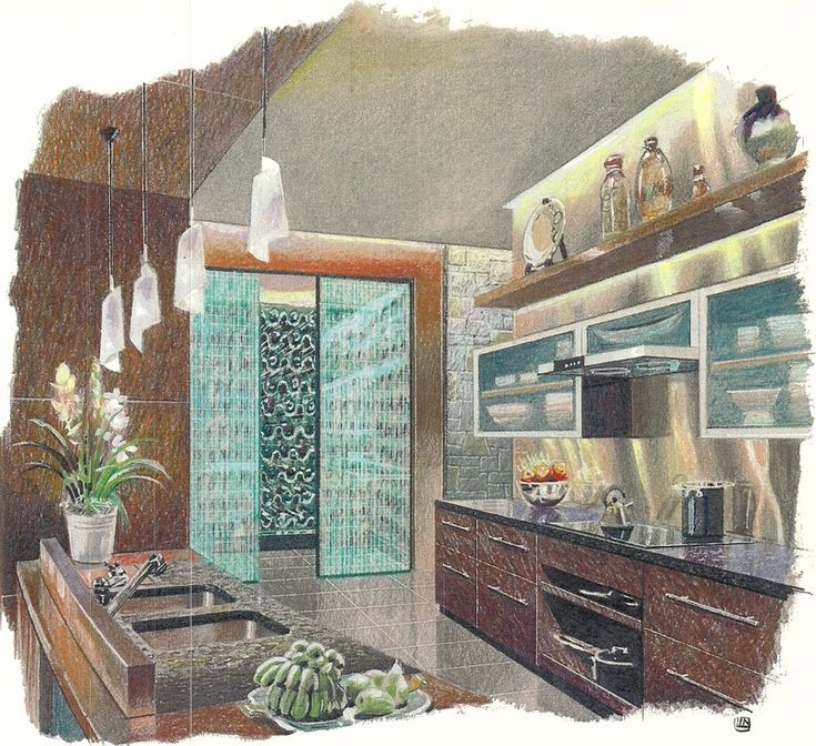 Interior Conceptual Kitchen Sketch #art #sketch #kitchen #interior #design
