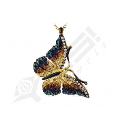.925 ayar gümüş kelebek kolye