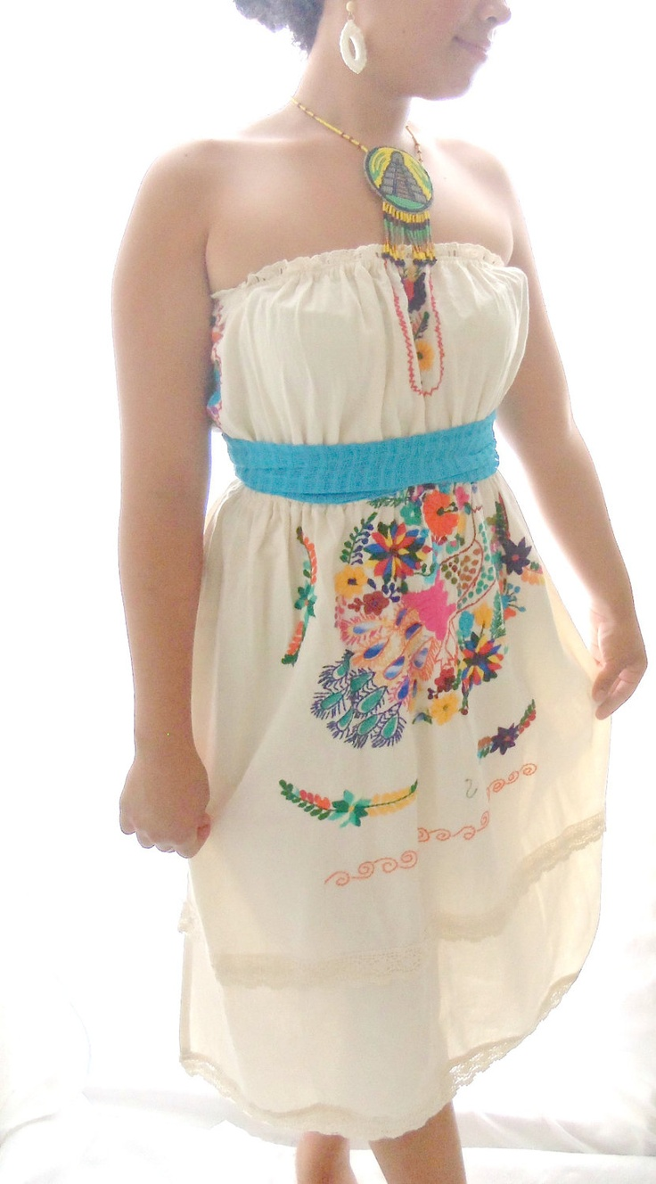 Tube tops are awesome!    tekila mexican hand embroidered folk mexican wedding dress.