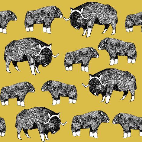 musk ox fabric // arctic animal fabric canada alaska greenland - mustard by andrea_lauren
