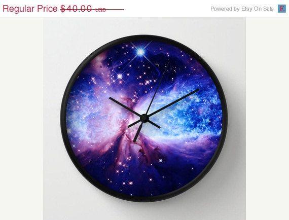 SALE Galaxy Print Clock Galaxy Clock Blue by 2sweet4wordsDesigns $34