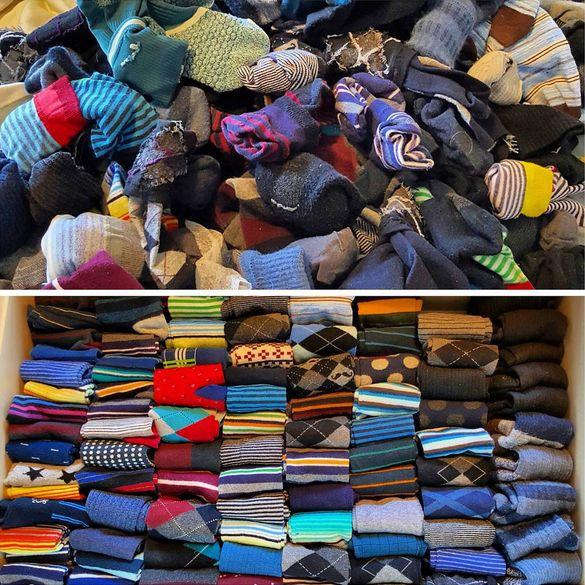 Socken vorher nachher mit der konmari methode for Minimalismus hausarbeit