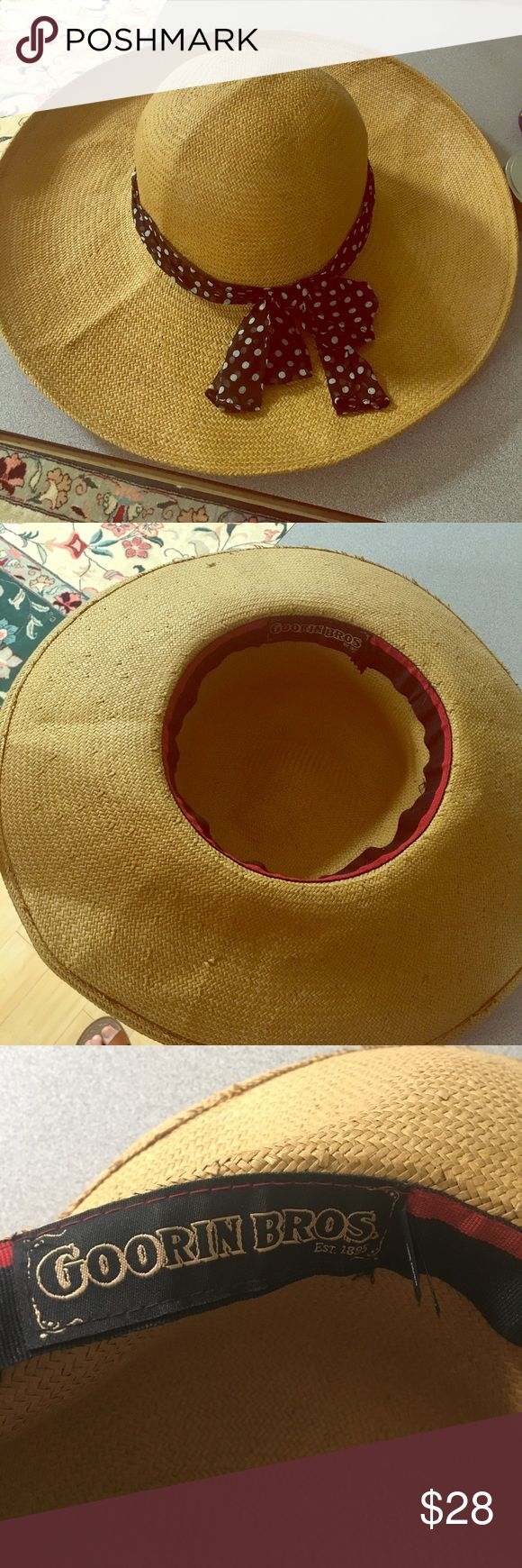 Goorin Brothers Floppy Hat Perfect for derby parties, the beach, or any sun-filled day. Black and white polka date ribbon, which is attached. If you're not familiar with Goorin Brothers, they're hats are  high quality! Size L, I believe. See sizing chart. Goorin Brothers Accessories Hats