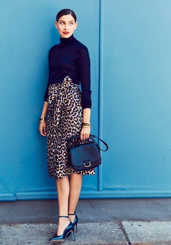 Black turtleneck, cheetah skirt and pointy heels