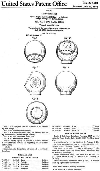 JVC Television set (Videosphere) design patent number 227,701